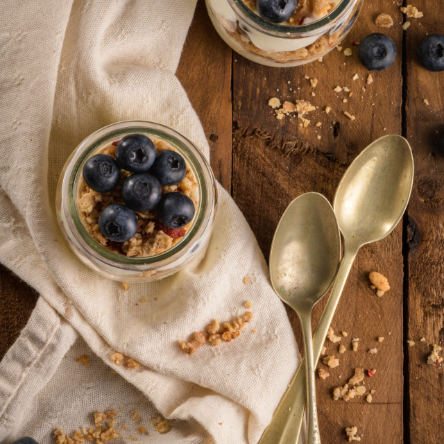 """Yogurt parfait with blueberry and granola"" stock image"