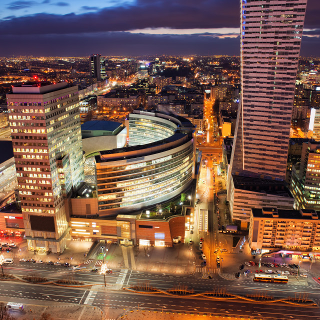 """""""Warsaw Downtown by Night in Poland"""" stock image"""