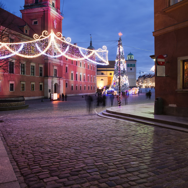 """City of Warsaw by Night in Poland"" stock image"