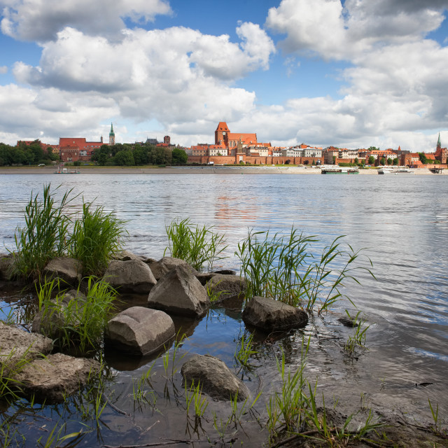 """City of Torun Skyline in Poland from Vistula River"" stock image"