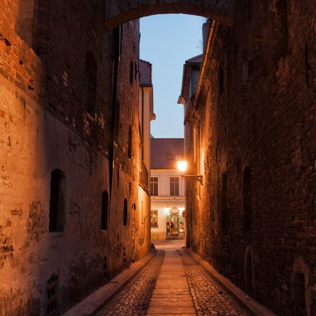 """""""Ciasna Street by Night in Torun"""" stock image"""