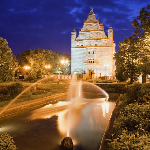 """""""Park and Collegium Maximum by Night in Torun"""" stock image"""