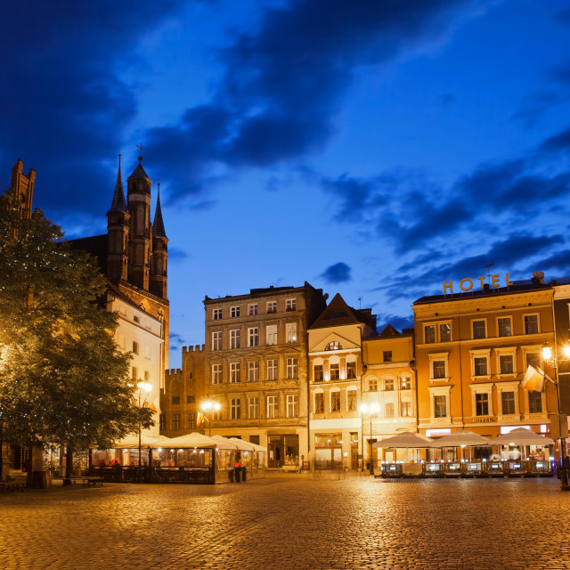 """""""Old Town Square by Night in Torun"""" stock image"""