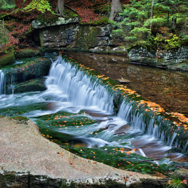 """Tranquil Autumn Stream with Waterfall"" stock image"