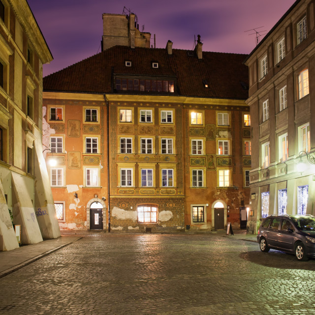 """Old Town of Warsaw by Night in Poland"" stock image"