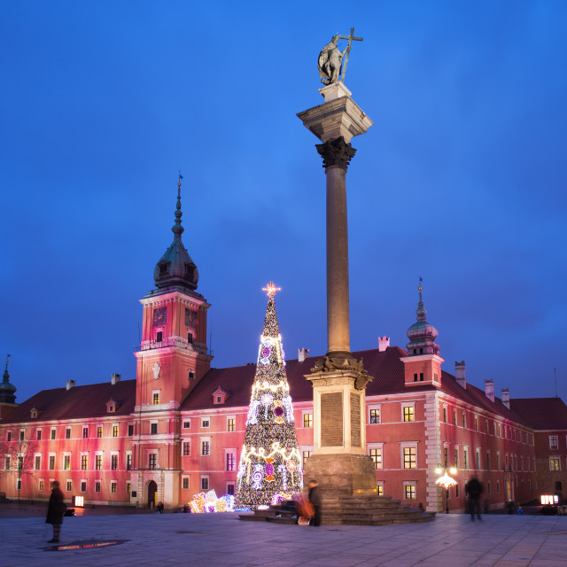 """Royal Castle and Sigismund Column by Night in Warsaw"" stock image"