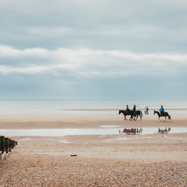 """A Winter's Tale - Camber sands in winter"" stock image"