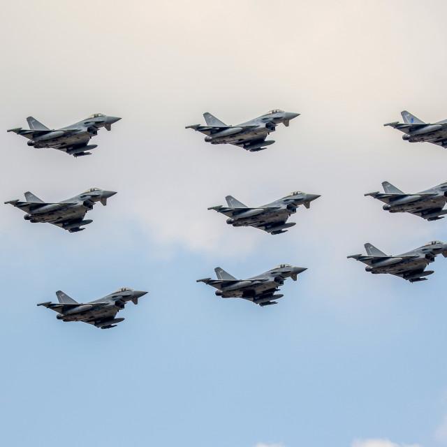 """Typhoon 9 ship flypast RIAT 2018"" stock image"