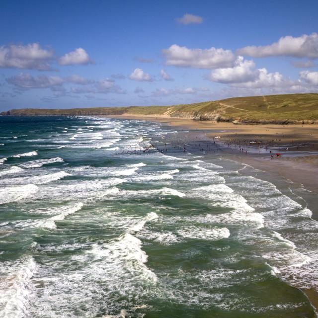 """Perranporth Surf"" stock image"
