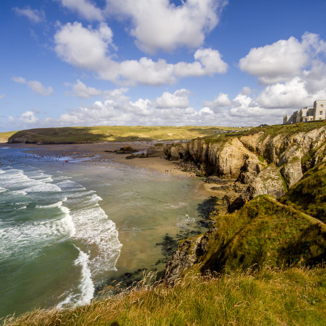 """""""Perranporth Beach from the hill"""" stock image"""
