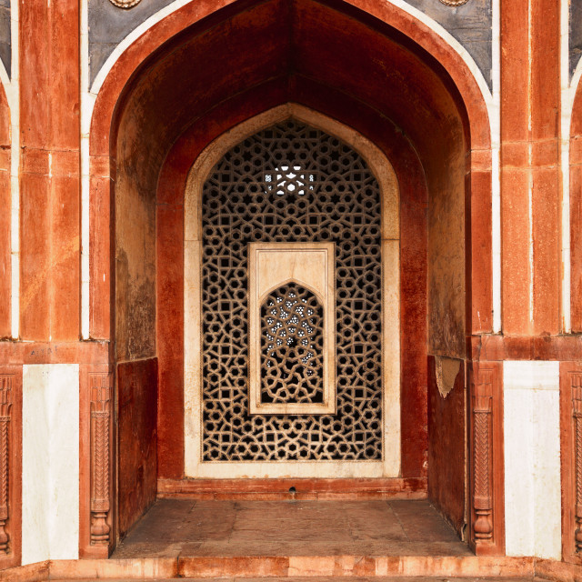 """""""Arch with carved marble window. Humayun's tomb, Delhi"""" stock image"""