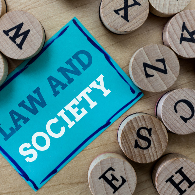 """""""Writing note showing Law And Society. Business photo showcasing Address the..."""" stock image"""