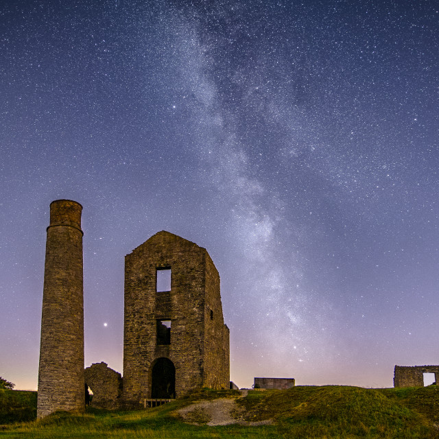 """Milky Way over Magpie Mine"" stock image"