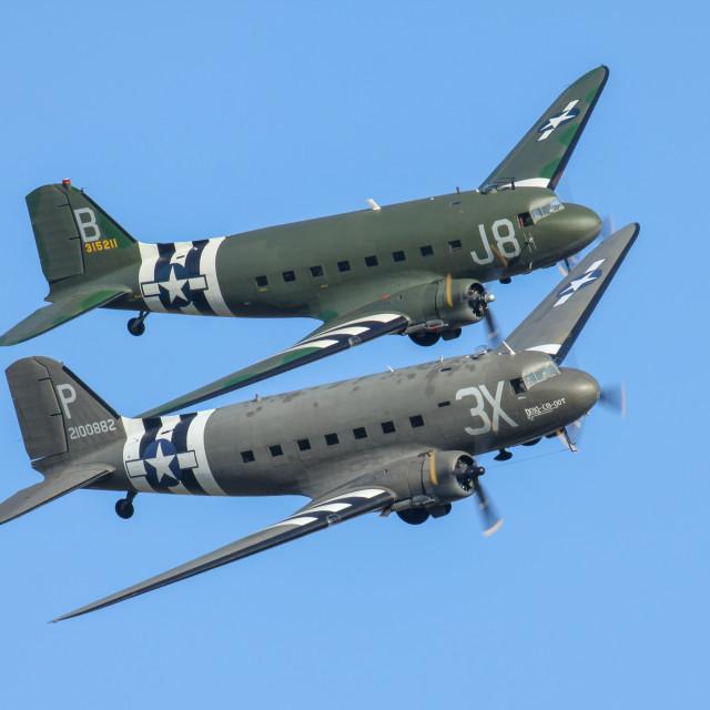 """Douglas DC3 Dakota formation flight"" stock image"