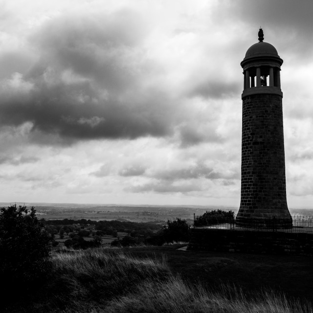 """Crich Memorial black and white"" stock image"