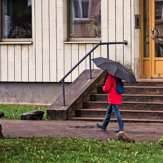 """Walking With Umbrella"" stock image"