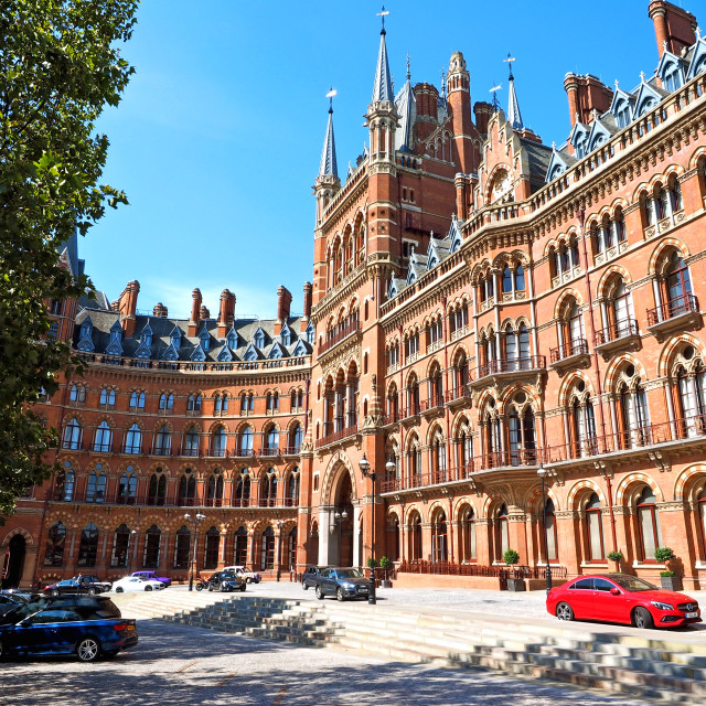 """St Pancras Station and Hotel"" stock image"