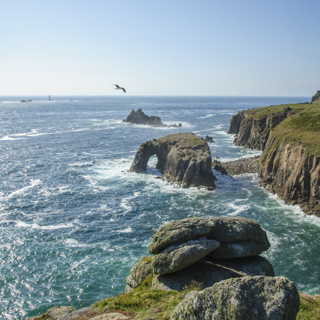"""""""Land's End from Pordenack Point"""" stock image"""