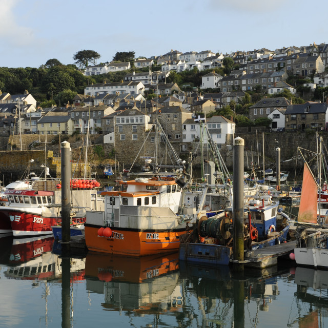 """""""Newlyn Harbour, Evening"""" stock image"""