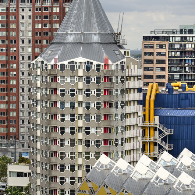 """Rotterdam, The Netherlands, September 8, 2018: the apartment tower by architect Piet Blom from the 1980's, nicknamed The Pencil"" stock image"