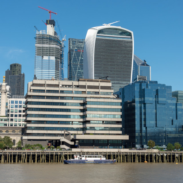 """View across the Thames near London Bridge"" stock image"