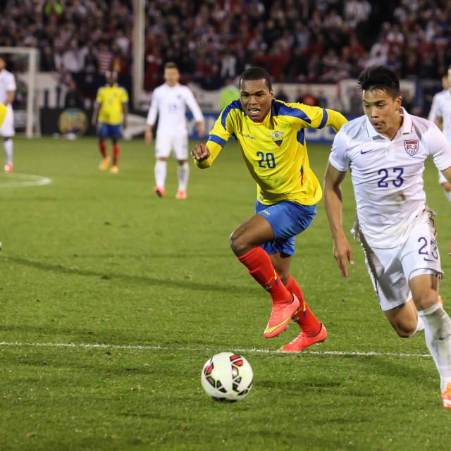 """Action on US Men`s International Friendly match"" stock image"