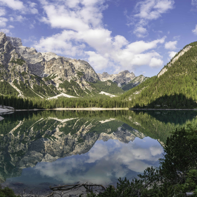 """Braies Lake - Dolomite"" stock image"