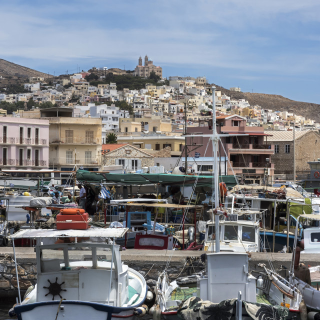 """Boats in the harbour at Syros Town."" stock image"