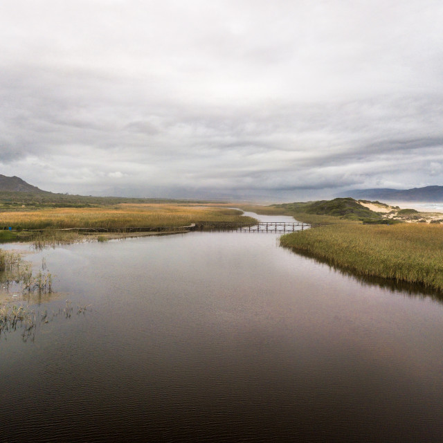 """""""Estuary and beach at Kleinmond. Seaside village in the Western Cape Province, South Africa."""" stock image"""