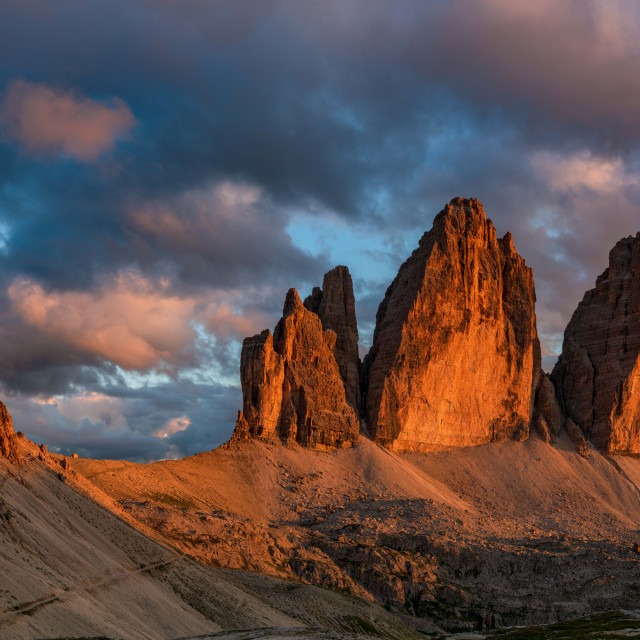 """Tre Cime - Dolomite at sundown"" stock image"