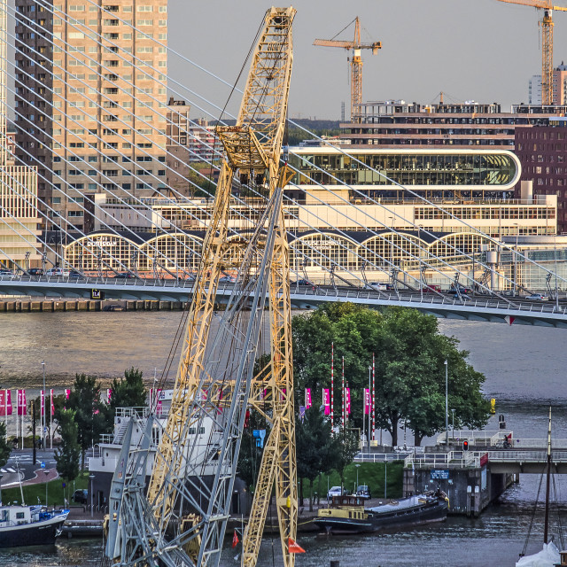 """""""Floating crane in museum harbour"""" stock image"""