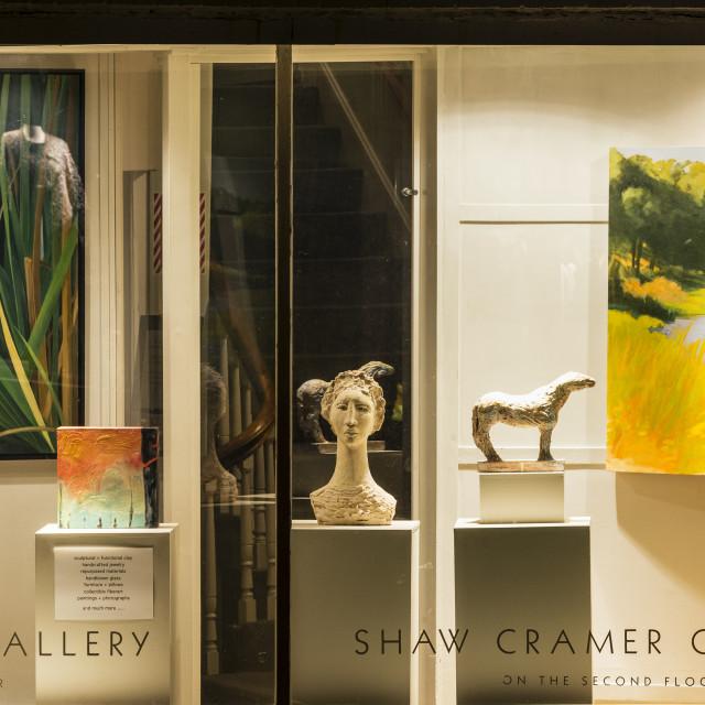 """Fine art gallery, Vineyard Haven, Martha's Vineyard"" stock image"