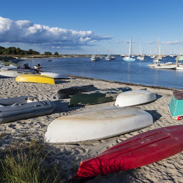 """""""Rowboats and sailboats at Vineyard Haven harbor, Martha's Vineyard, Massachusetts, USA."""" stock image"""