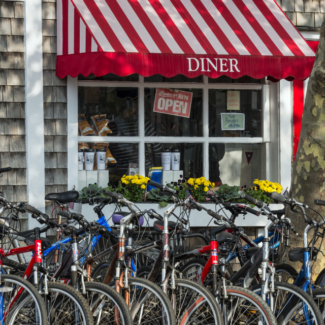 """""""Charming diner with bicycles, Edgartown, Martha's Vineyard"""" stock image"""