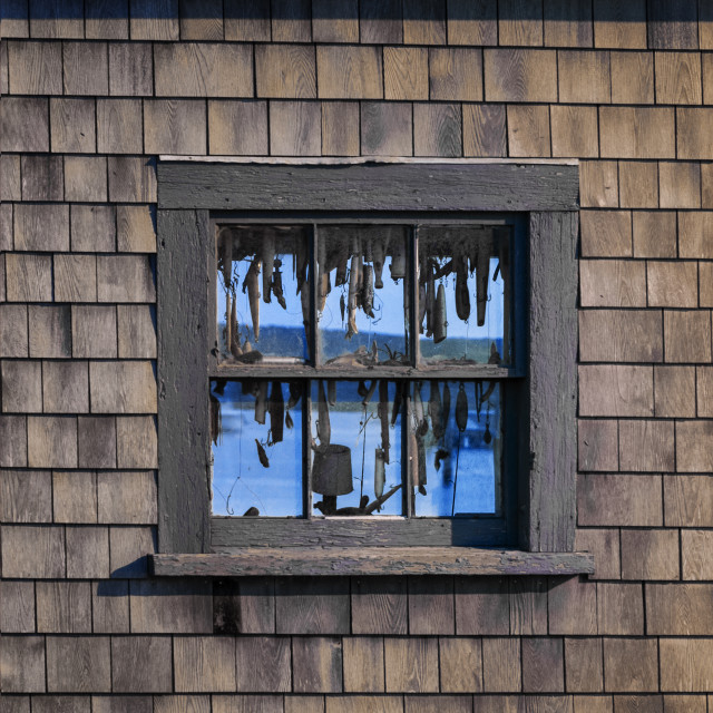 """Hooks and lures in a fishing shack window, Menemsha, Martha's Vineyard"" stock image"