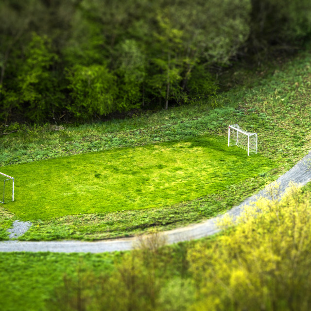 """Small football pitch in a park seen from above"" stock image"