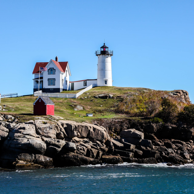 """Cape Neddick ""Nubble"" Lighthouse"" stock image"