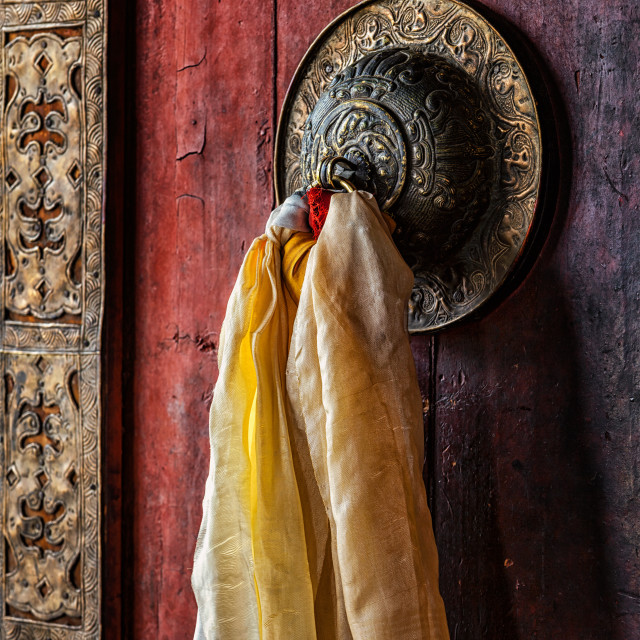 """""""Door handle of gates in Thiksey gompa, Ladakh, India"""" stock image"""