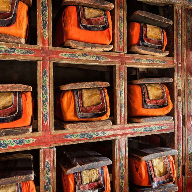 """Old manuscripts folios in library of Thiksey Monastery. Ladak"" stock image"