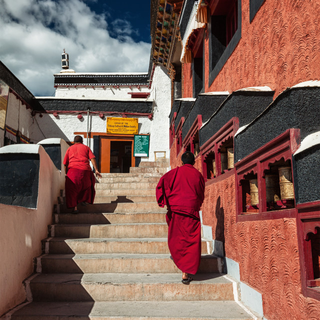 """""""Young Buddhist monks walking on stairs along prayer wheels in Thiksey gompa"""" stock image"""