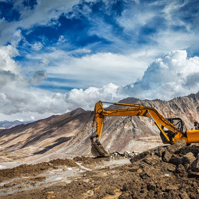 """""""Road construction in mountains Himalayas"""" stock image"""