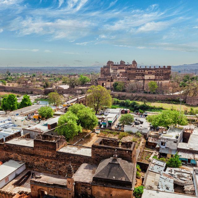 """Aerial view of Orchha village and palace"" stock image"
