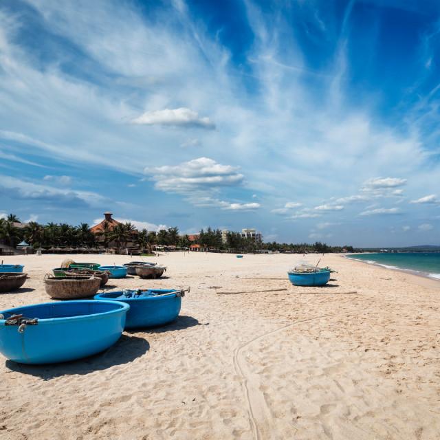 """""""Fishing boats on beach. Mui Ne, Vietnam"""" stock image"""