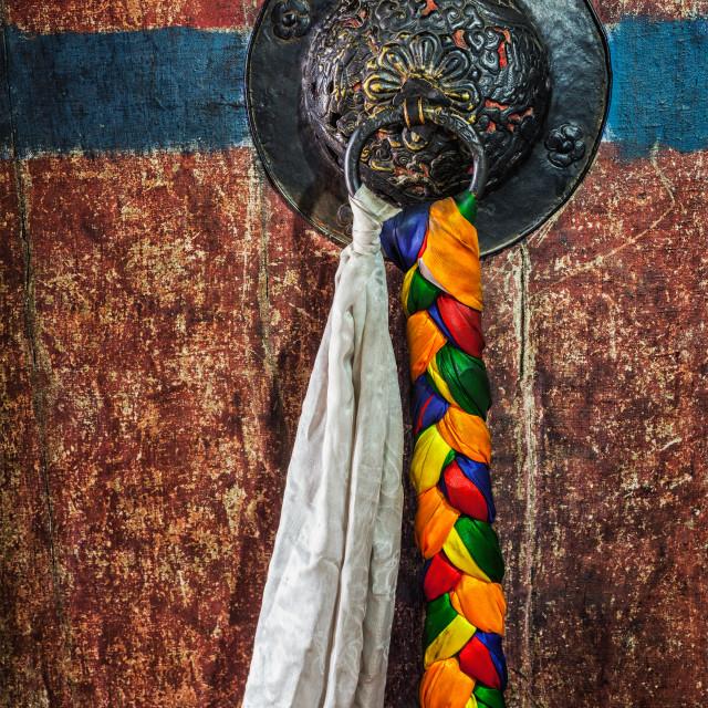 """Door handle of gates in Thiksey gompa Tibetan Buddhist monastery"" stock image"