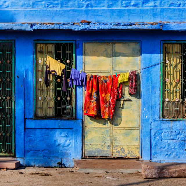 """Blue house in Jodhpur, Rajasthan"" stock image"