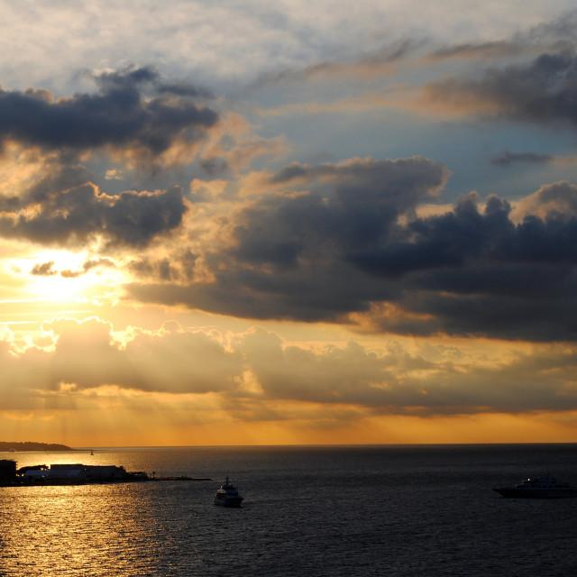 """Sunset in Santorini"" stock image"