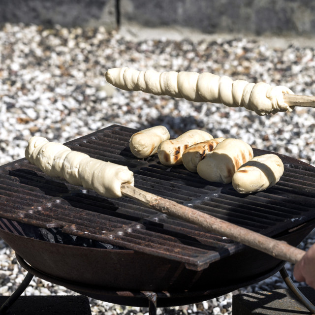 """Bread on an outdoor grill"" stock image"