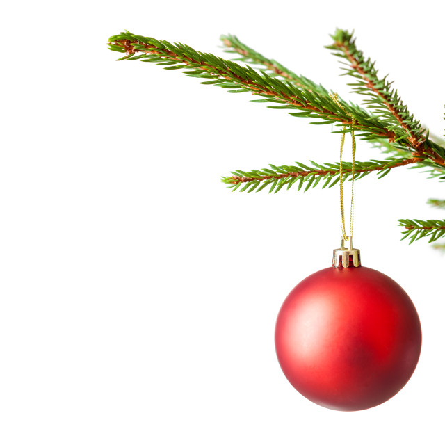 """""""Decoration bauble on decorated Christmas tree iso"""" stock image"""