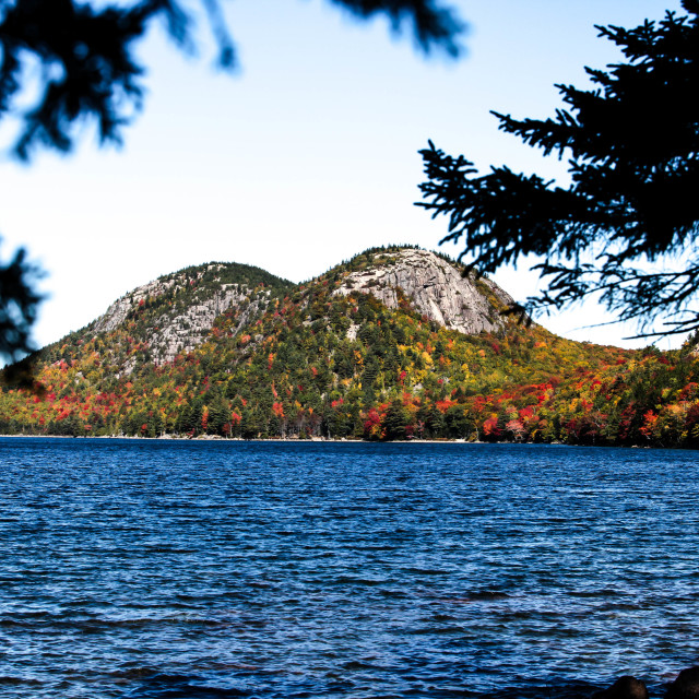 """Jordan Lake Pond with autumn colors"" stock image"