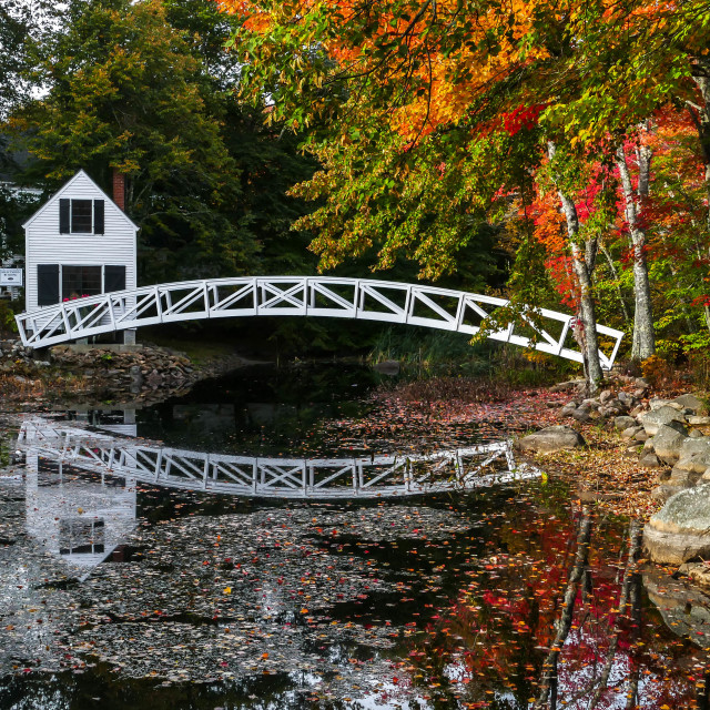 """""""Somesville bridge with reflections in water"""" stock image"""